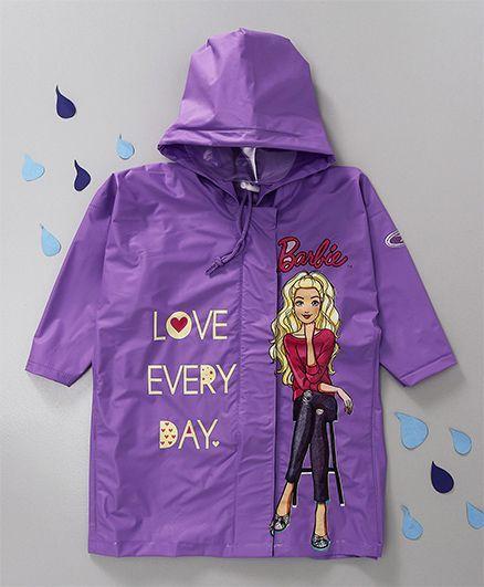 Babyhug Hooded Raincoat Barbie Print - Purple