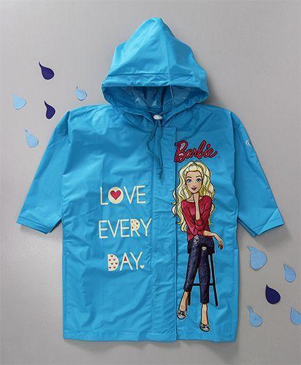 Babyhug Hooded Raincoat Barbie Print - Sky Blue
