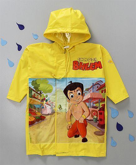 Babyhug Hooded Raincoat Chhota Bheem Print - Yellow