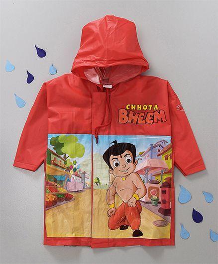 Babyhug Hooded Raincoat Chhota Bheem Print - Red