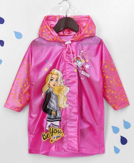Babyhug Full Sleeves Hooded Raincoat Barbie Print - Pink