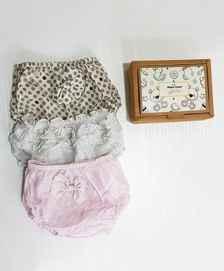 Bobtail By Misha's Creation Diaper Cover Gift Pack of 3 - White Peach Grey