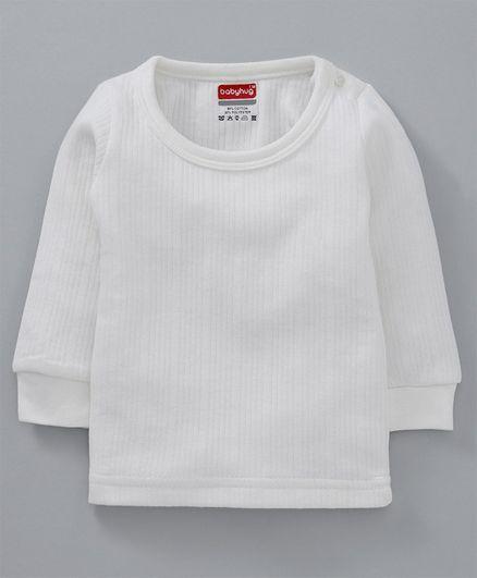 Babyhug Full Sleeves Pullover Thermal Vest - Off White