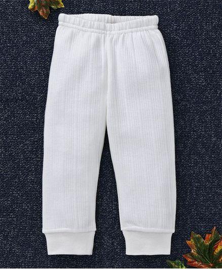 Babyhug Full Length Thermal Leggings - Medium White