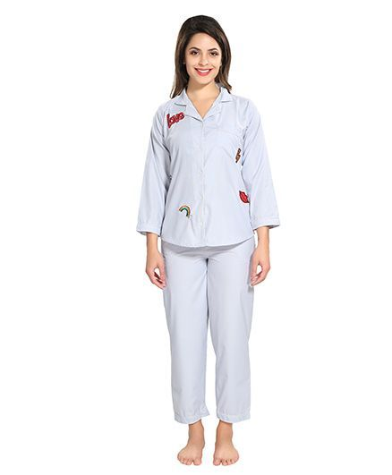 e5294572c0 Piu Front Open Patches Sleepwear Blue Online in India