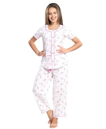 c507452ac6 Piu Front Open Flamingo Print Sleepwear White Online in India