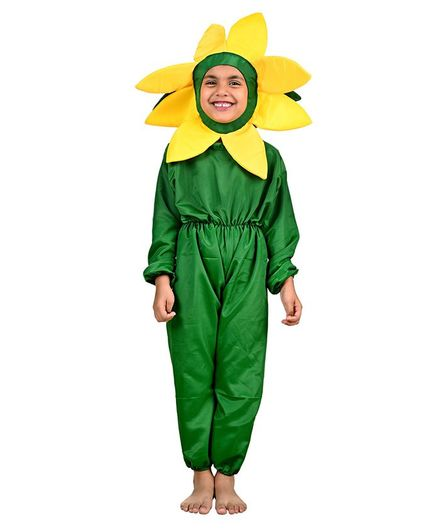 BookMyCostume Yellow Flower Fancy Dress Costume - Yellow & Green