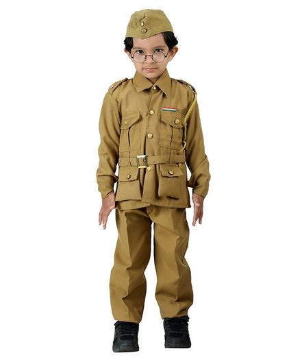 BookMyCostume Subhash Chandra Bose Freedom Fighter Fancy Dress Costume - Khaki