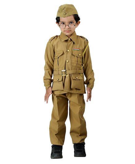 BookMyCostume Subhash Chandra Bose Freedom Fighter Fancy Dress Costume - Khaki