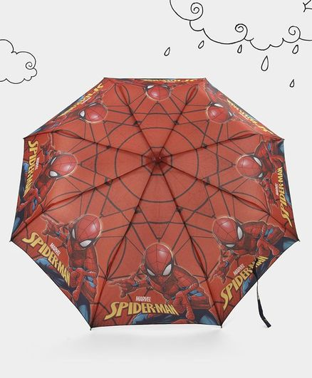 Marvel Spider Man 3 Fold Kids Umbrella - Red
