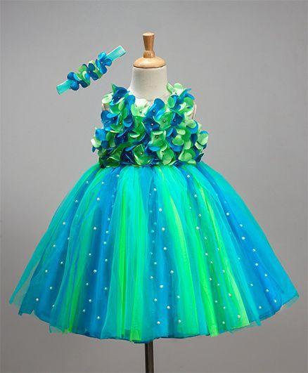 Li&Li Boutique Netted Flower Dress - Blue & Green