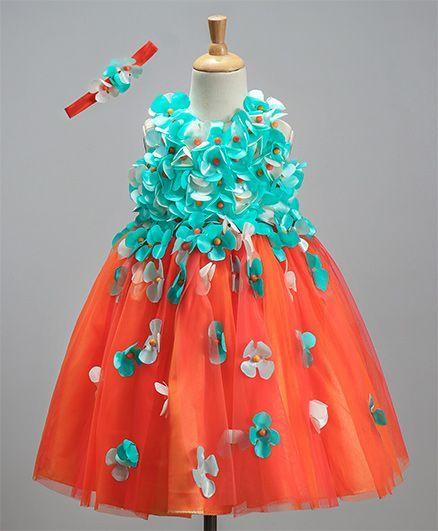 Li&Li Boutique Dual Color Flower Work Dress - Blue & Orange