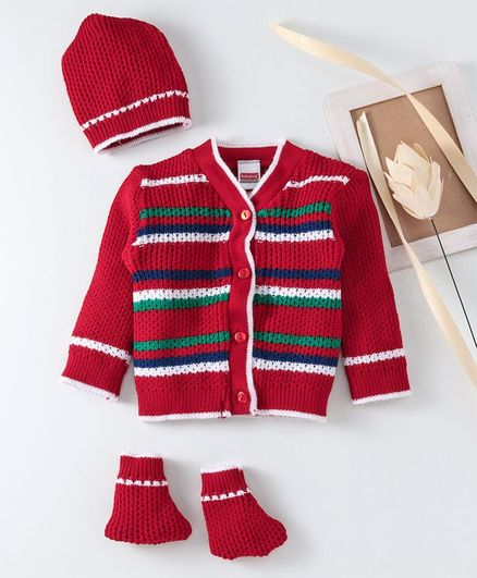 Babyhug Full Sleeves Striped Sweater Set With Cap & Booties - Red