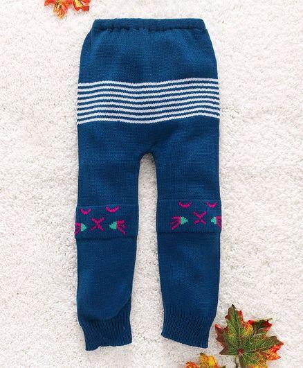 Babyhug Winter Wear Full Length Leggings Stripes Pattern - Deep Blue