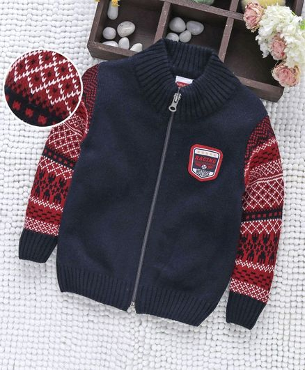 Babyhug Front Zipper Sweater With Contrast Jacquard Fabric Sleeves - Navy Red