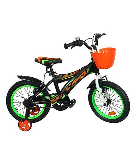 Hollicy Kids Bicycle With Trainer Wheels Black Green -16 inches