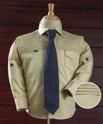 Enfance Casual Shirt With Tie - Cream