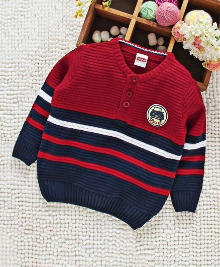 Babyhug Full Sleeves Stripe Sweater Car Patch - Red Navy Blue