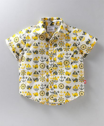 f1a2b474d641 Buy Nino Bambino Printed Shirt White for Boys (18-24 Months) Online ...