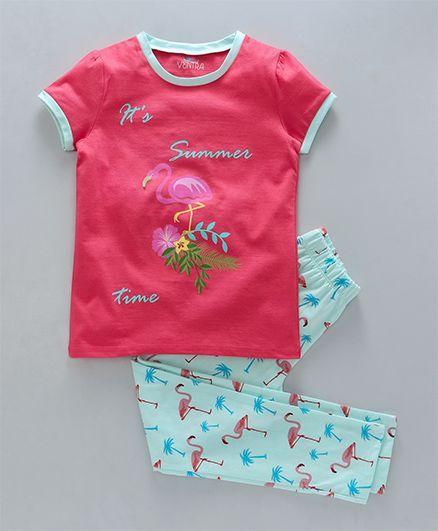 Ventra Flamingo Print Nightwear Set - Pink
