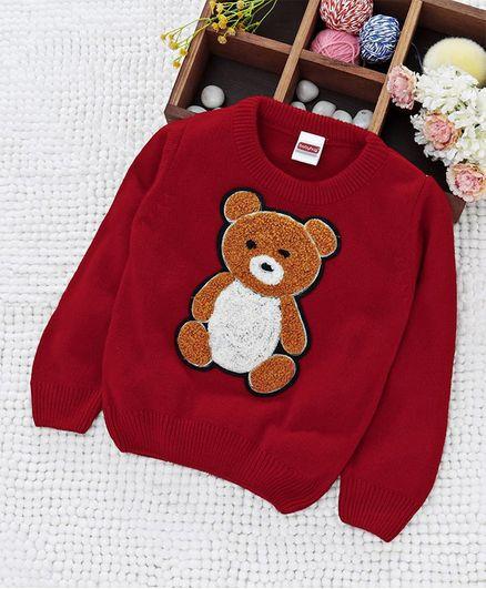Babyhug Full Sleeves Sweater Bear Design - Red