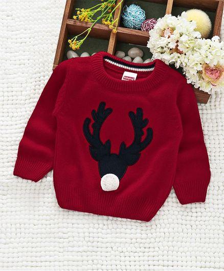 Babyhug Full sleeves Sweater Embroidered Reindeer - Dark Red