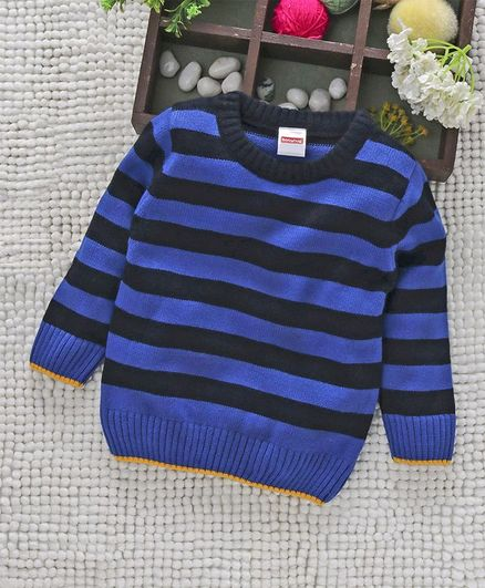 c3518cf05 Babyhug Full Sleeves Striped Pullover Sweater - Black Blue
