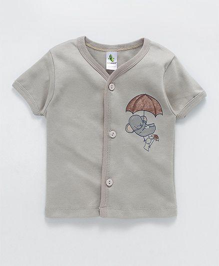 Cucumber Half Sleeves Vest Umbrella Print - Grey