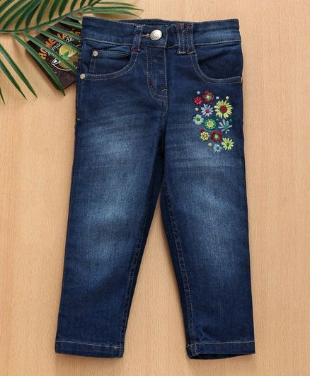 09a797ff789 Buy Babyhug Full Length Denim Floral Embroidered Jeans Dark Blue ...