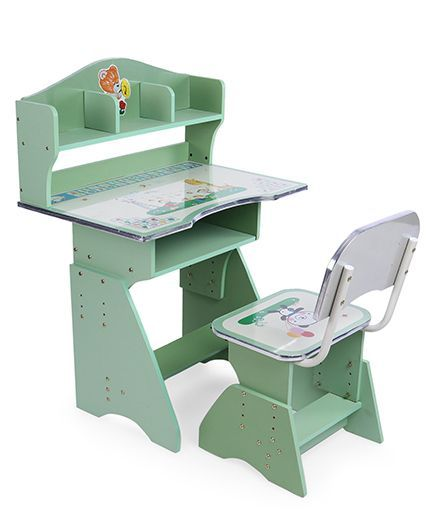 Kids Study Table With Chair - Green