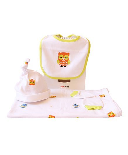 Shumee Baby's Little Essentials Organic Cotton Clothing Gift Set Olly The Owl - White