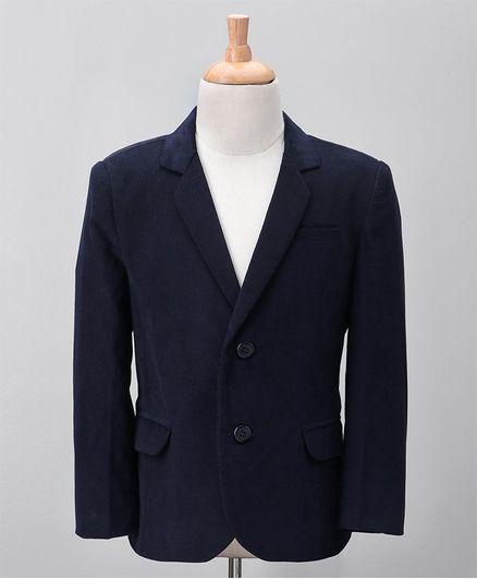 Babyoye Full Sleeves Party Wear Corduroy Blazer - Navy Blue