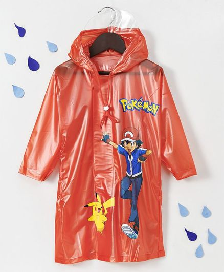4f463f1faf2 Babyhug Full Sleeves Hooded Raincoat Pokemon Print - Orange