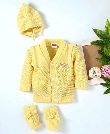 Babyhug Full Sleeves Sweater  With Cap And Booties- Yellow