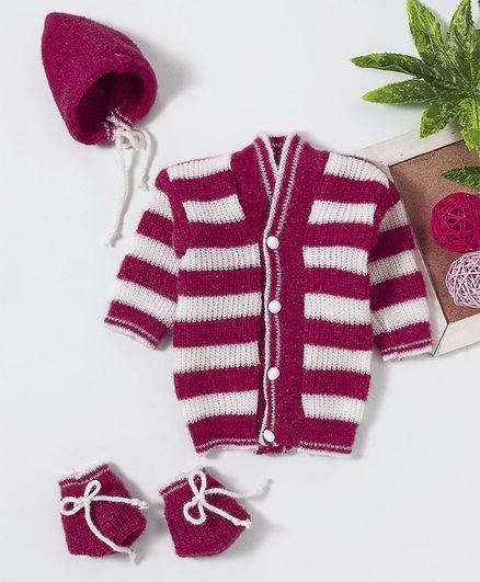 Babyhug Full Sleeves Striped Sweater Set With Cap & Booties - Dark Pink
