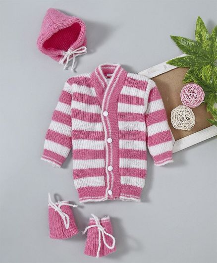 Babyhug Full Sleeves Striped Sweater Set With Cap & Booties - Pink