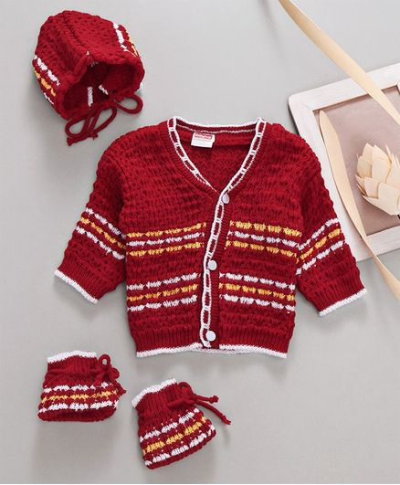Babyhug Full Sleeves Sweater With Cap & Booties - Red