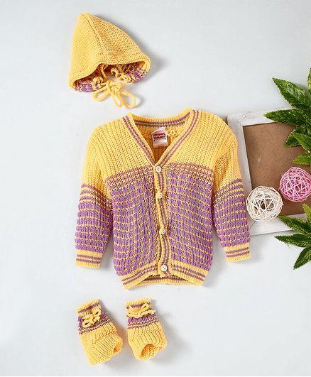 Babyhug Full Sleeves Sweater And Cap With Booties - Yellow Purple