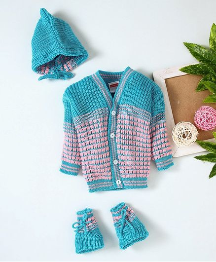 Babyhug Full Sleeves Sweater And Cap With Booties - Sky Blue Pink