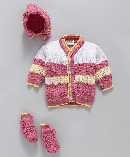 Babyhug Full Sleeves Knitted Striped Sweater With Booties & Cap - Pink