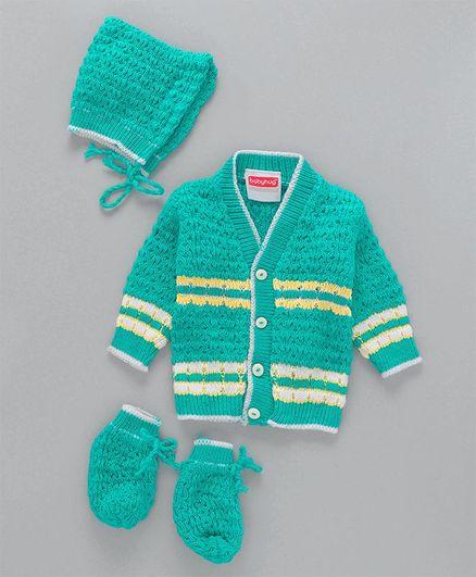 Babyhug Full Sleeves Sweater & Cap With Booties - Green