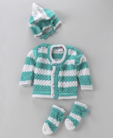 Babyhug Full Sleeves Striped Sweater Cap & Booties Set - Green