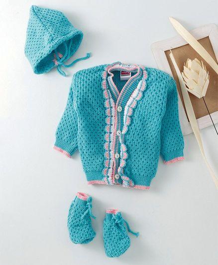 Babyhug Full Sleeves Sweater With Cap & Booties - Blue