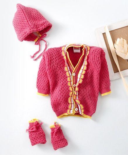 Babyhug Full Sleeves Sweater With Cap & Booties - Fuschia