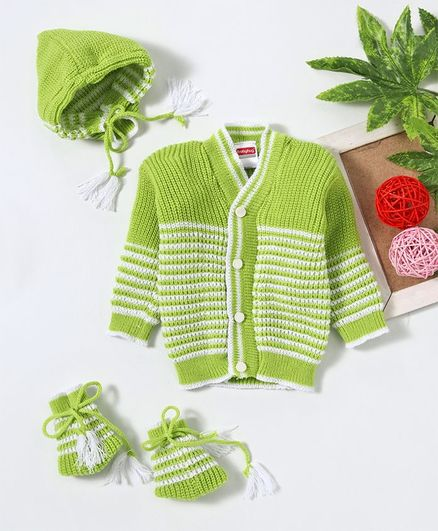 Babyhug Full Sleeves Striped Sweater Set With Cap & Booties - Green