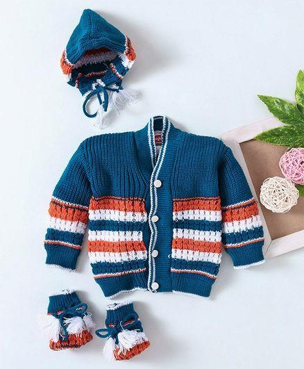 Babyhug Full Sleeves Sweater Set With Cap & Booties - Navy