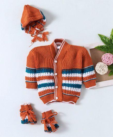 Babyhug Full Sleeves Sweater Set With Cap & Booties - Brown