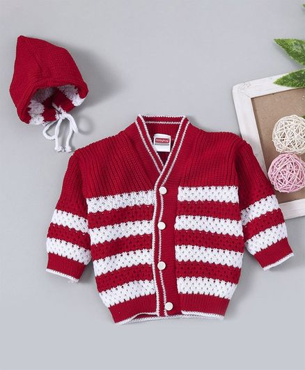 Babyhug Full Sleeves Sweater Set With Cap & Booties - Red