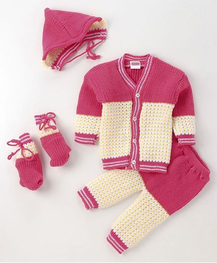 Babyhug Full Sleeves Sweater With Pyajama Cap & Booties - Pink Cream