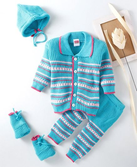 84df091ee Babyhug Full Sleeves Sweater Bottoms With Cap And Booties - Blue